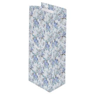 Blue Rosy Flower Pattern Wine Gift Bag