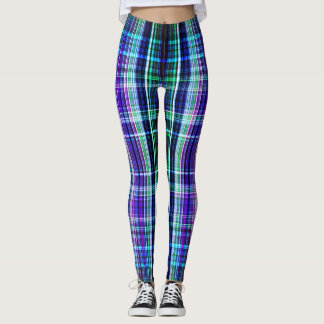 Blue rough stripes pattern leggings