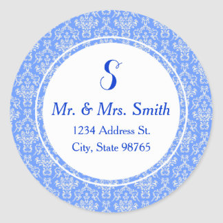 Blue Round Damask Address Label Sticker