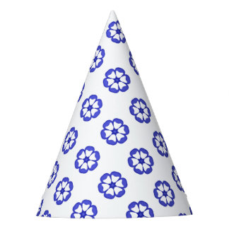 Blue Round Floral Pattern Party Hat
