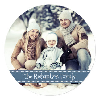 Blue Round Photo Holiday Flat Card