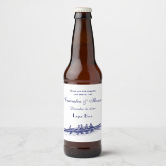 Blue Rowing Rowers Crew Team Water Sports Beer Bottle Label