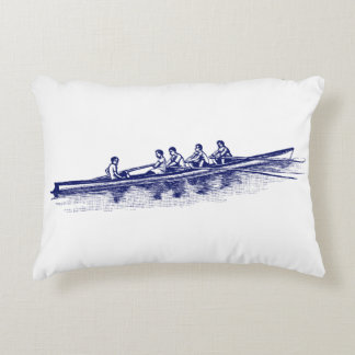 Blue Rowing Rowers Crew Team Water Sports Decorative Pillow