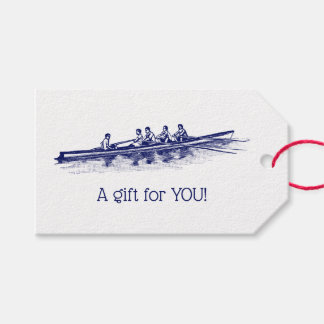 Blue Rowing Rowers Crew Team Water Sports Gift Tags