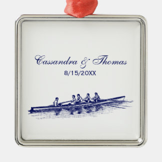 Blue Rowing Rowers Crew Team Water Sports Metal Ornament