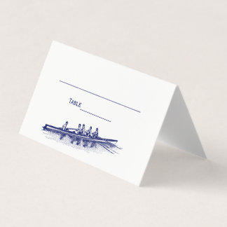 Blue Rowing Rowers Crew Team Water Sports Place Card