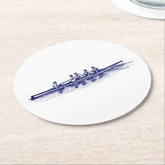 Blue Rowing Rowers Crew Team Water Sports Round Paper Coaster