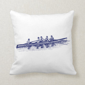 Blue Rowing Rowers Crew Team Water Sports Throw Pillow