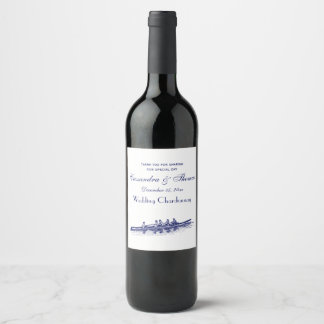 Blue Rowing Rowers Crew Team Water Sports Wine Label