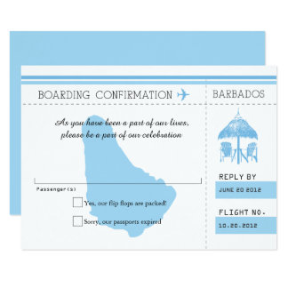 Blue RSVP Boarding Pass TO BARBADOS Card