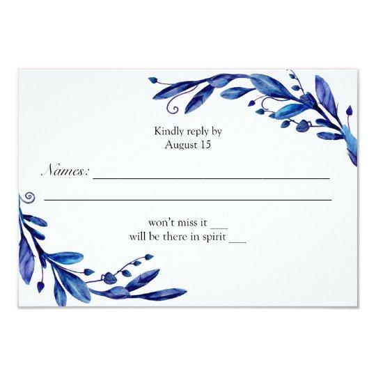 Blue rsvp. Navy response card. Winter wedding Card