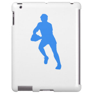 Blue Rugby Player Silhouette