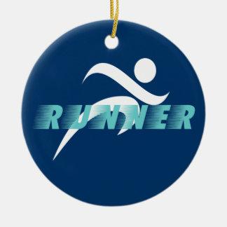 Blue runner design round ornament