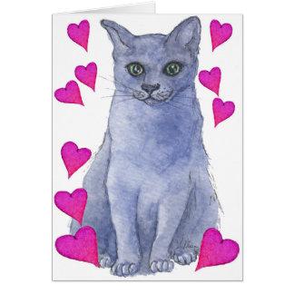 Blue Russian cat & love hearts Card