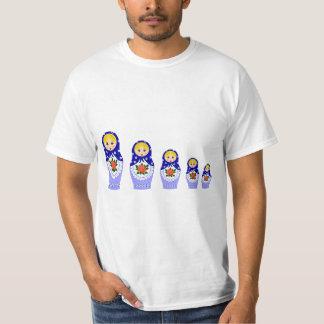 Blue russian matryoshka nesting dolls man T-Shirt