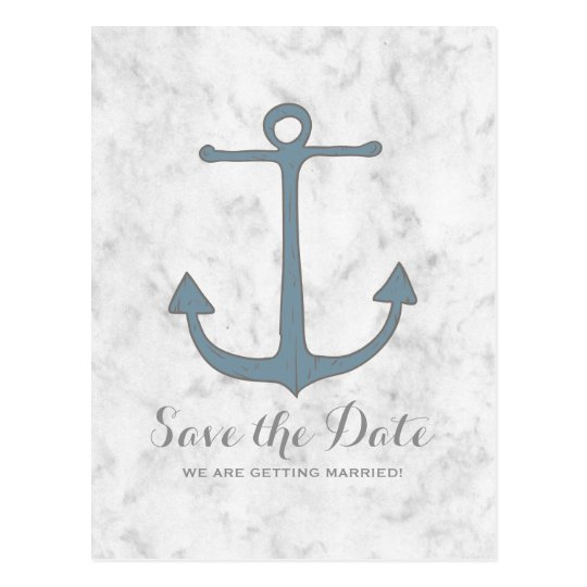 Blue Rustic Anchor Save the Date Postcard