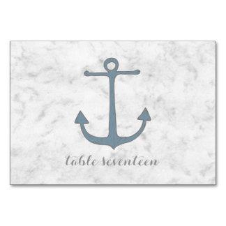 Blue Rustic Anchor Wedding Table Card