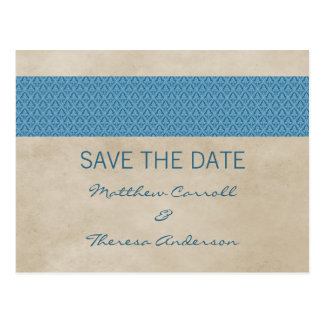 Blue Rustic Damask Save the Date Postcard