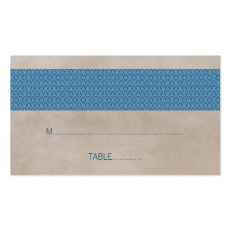 Blue Rustic Damask Wedding Place Card Business Cards
