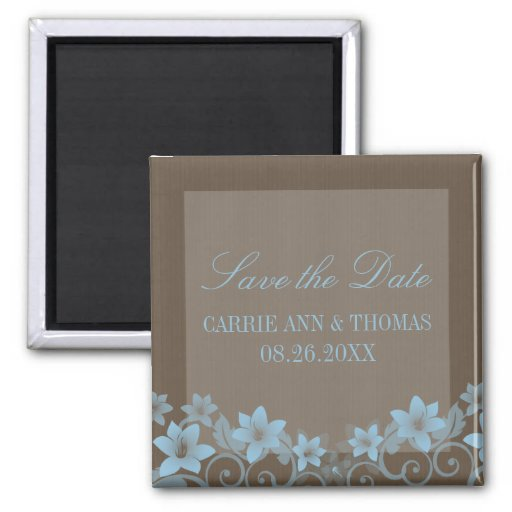 Blue Rustic Floral Save the Date Magnet