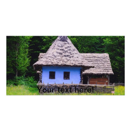 Blue rustic house picture card