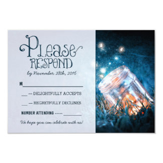 blue rustic lights mason jar wedding RSVP 3.5x5 Paper Invitation Card