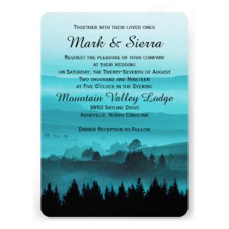Blue Rustic Mountain Wedding Invitation