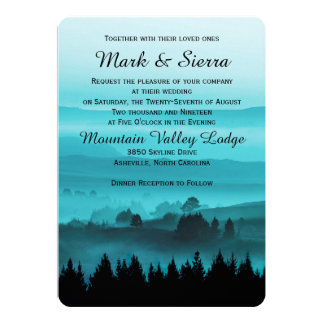 "Blue Rustic Mountain Wedding Invitation 5"" X 7"" Invitation Card"