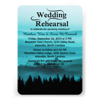 Blue Rustic Mountain Wedding Rehearsal Dinner Custom Invitation