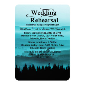 Blue Rustic Mountain Wedding Rehearsal Dinner 4.5x6.25 Paper Invitation Card