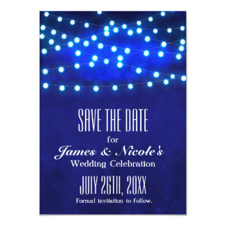 "Blue Rustic Night String Lights Save The Date Card 4.5"" X 6.25"" Invitation Card"