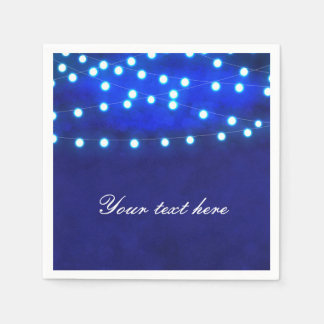 Blue Rustic Night String Lights Wedding Napkins Disposable Napkin