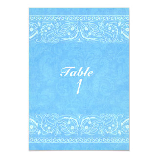 Blue Rustic Paisley Country Western Table Number Card