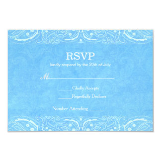 Blue Rustic Paisley Country Western Wedding RSVP Card