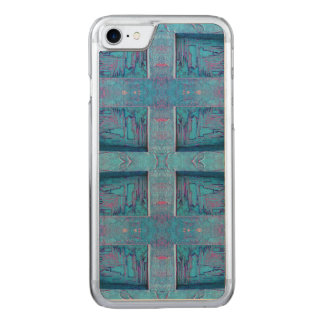 Blue rustic pattern carved iPhone 7 case
