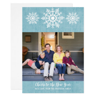 Blue Rustic Snowflake New Year's Photo Flat Card