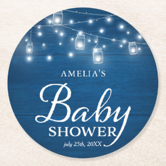 Blue Rustic Wood Mason Jars and Lights Baby Shower Round Paper Coaster