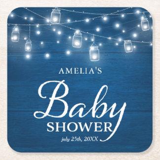 Blue Rustic Wood Mason Jars Lights Baby Shower Square Paper Coaster
