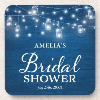 Blue Rustic Wood Mason Jars Lights Bridal Shower Coaster