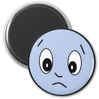 Blue Sad Smiley Face Magnet