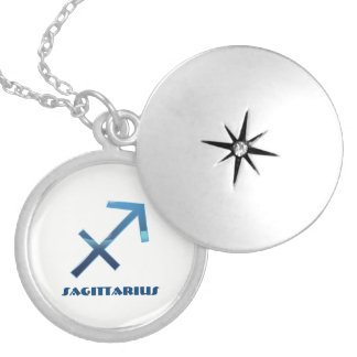 Blue Sagittarius Zodiac Signs On White Locket Necklace