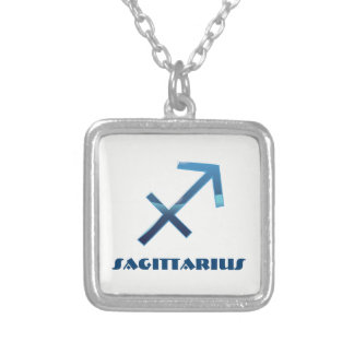 Blue Sagittarius Zodiac Signs On White Silver Plated Necklace