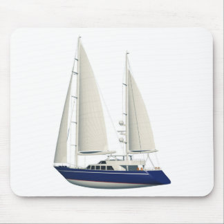 blue sail boat mouse pad