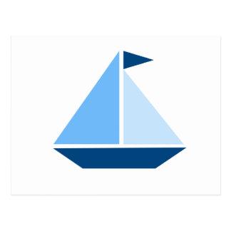Blue Sail Boat Postcard