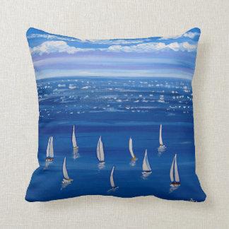 Blue Sail Sailboats Folk Art Pillow
