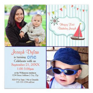 Blue Sailboat 2 Photo Kids - Birthday Invitation