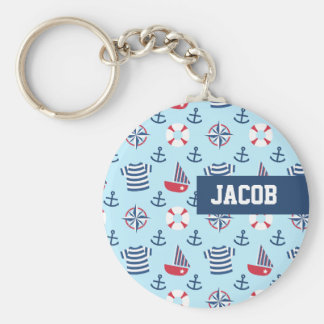 Blue Sailboat Anchor Nautical Theme Pattern Basic Round Button Keychain