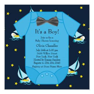 Blue Sailboat Baby Boy Shower Card