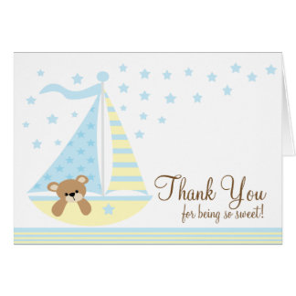 Blue Sailboat Baby Shower Thank You Note Card
