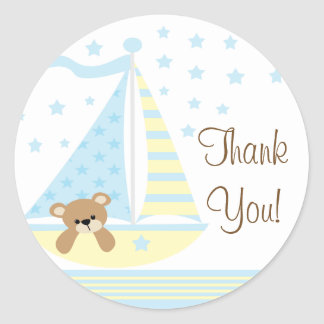 Blue Sailboat Baby Shower Thank You Sticker